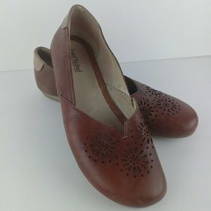 Josef Seibel Lattice Flats Brown Leather Womens 12